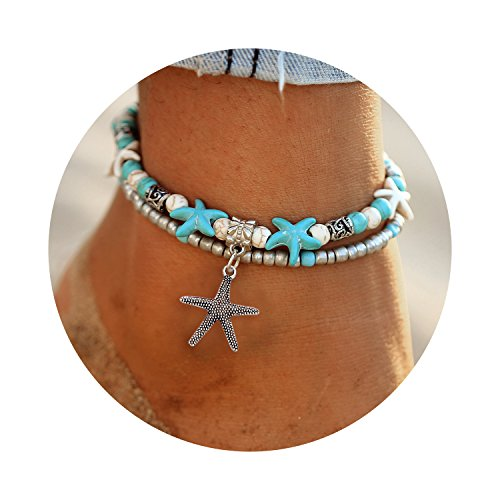 Bracelets Gold Hawaiian - Starfish Turtle Anklets Multiple Layered Boho Gold Chain Anklet Heart Beach Rhinestone Turquoise Stone Charm Anklet