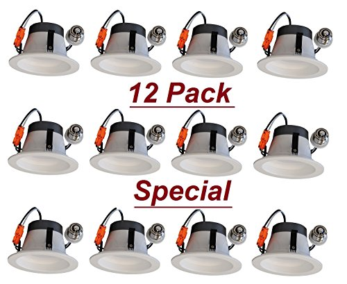 12 Pack 4'' Inch LED Retrofit With Trim - 550 Lumens - 8 Watts - Dimmable - Energy Star Rated - 5 Year Warranty (5000K Day Bright) by Cost Less Lighting
