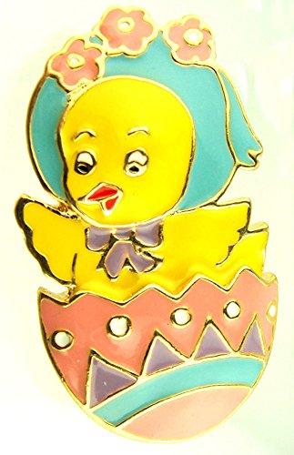 Pastel Colored Enamel Easter Egg Chick Brooch