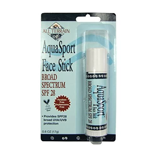 All Terrain AquaSport SPF 28-0.6oz, Natural Sunscreen Face Stick, Oxybenzone, Paraben & Chemical Free, Water & Sweat Resistant, UV Protection