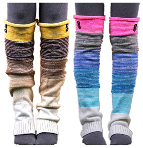 VIGVOG Women's Boho Knitted Warm Long Leg Warmers(Rainbow&Yellow)