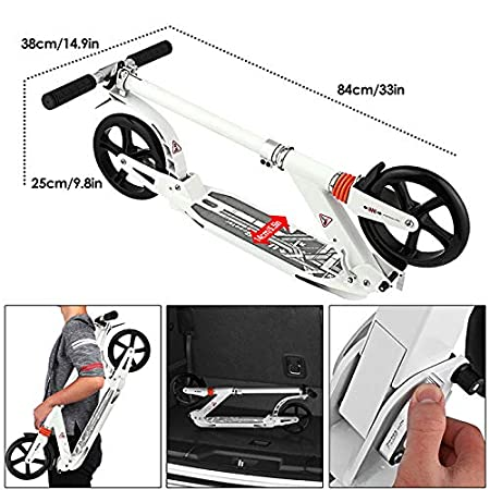 Aceshin Scooter for Adults,Teens,Kids 200mm Big Wheels Kick Scooter Easy Folding Lightweight Height Adjustable Dual Suspension Shoulder Strap Rear Fender Brake,220lbs Weight Capacity