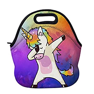 AOTIGO Dab Unicorn Rainbow Lunch Bag Insulated Neoprene Lunch Box Waterproof Tote Bag with Zipper for Kids, Boys, Girls, Women and Men