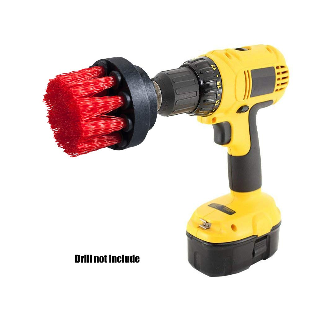 Yellow Bathroom SaferCCTV 5Pcs Combinate Drill Brush-2 3 4 5 Power Scrubbing Brush Drill,Spin Scrubber Electric Cleaning Brush Fixing for Car Wooden Floor Laundry Room Cleaning