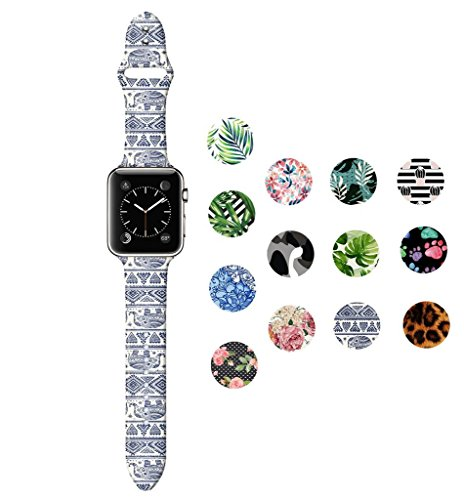 (Dsigo Replacement Band for Apple Watch 42mm Series 4 Series 3 Series 2 Series 1 M/L, Strap Bands for iwatch, Silicone Sport Style Wristband, Personalized Design Aztec Elephant)