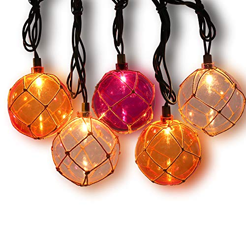LIDORE Fairy Light Nautical Fishing Floats Coastal Buoy Beach Style String Lights Set. Set of 10 Warm White Lighting. Orange Clear and -