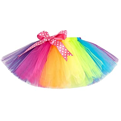 d4185fe4ae Lazzboy Girls Tutu Tulle Ballet Skirt Multicolour Rainbow Princess Dress-up  Dancewear for 3-
