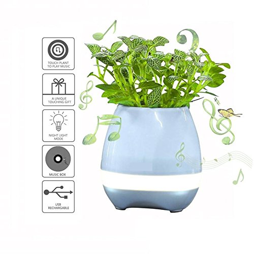 HHD Plant Flowers Pots,Touch Sense Piano Playing USB Rechargeable Wireless Bluetooth Speaker Multi Color LED Music Pots Vase with Night Light for Office Home Decoration/Festival (Blue) ()