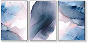 "wall26 3 Piece Framed Canvas Wall Art for Living Room, Bedroom Organic Pastel Abstract IX Canvas Prints for Home Decoration Ready to Hang - 16""x24""x3 Panels"