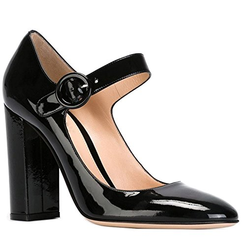 Comfity Womens Relia Suede Cute Mary Jane High Heel Pumps Black-patent XgYVPHQcO