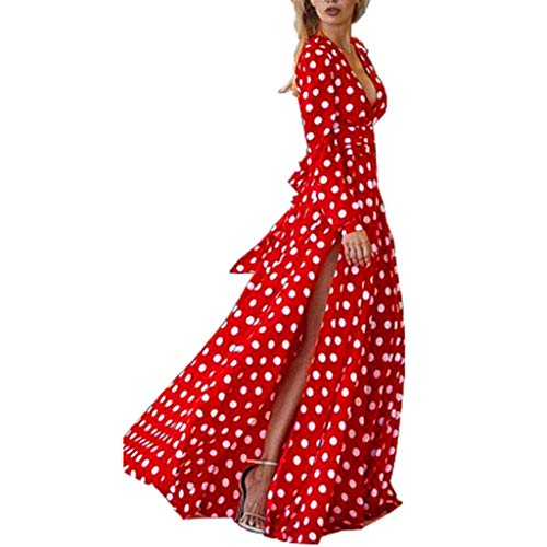 ⚡HebeTop⚡ Women Sexy Wave Point Dot V-Neck Maxi Dress Fork Opening Long Maxi Dress Red]()