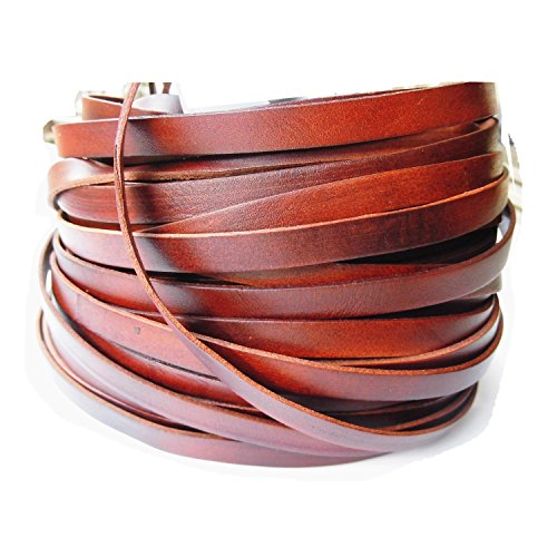 Glory Qin 5 Yards 10mmx2mm Genuine Cow Hide Flat Leather Srip, 10mm Wide Real Leather Craft for Jewelry Making LeatherRush - Real Cord Leather Jewelry