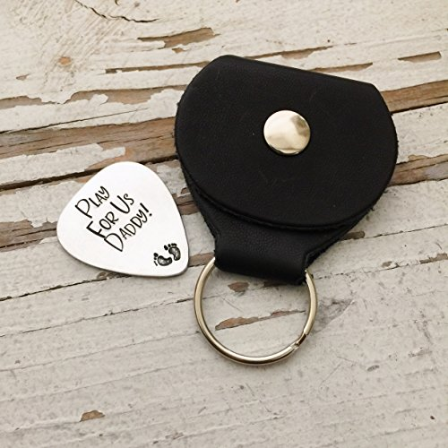 Hand Stamped Play For Us Daddy Guitar Pick and Case Plectrum Father's Day Gift