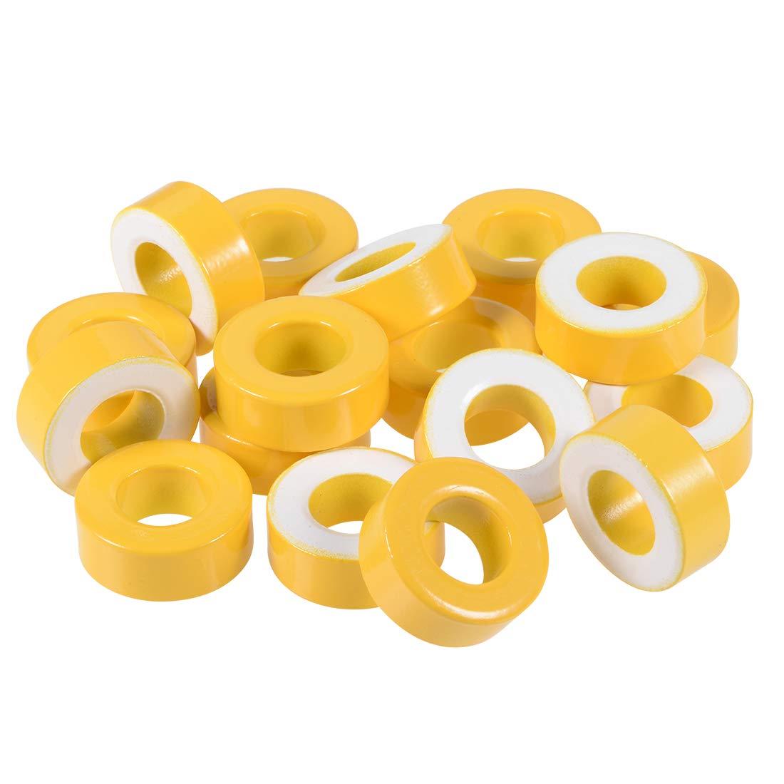 uxcell 17pcs 14.2 x 27.3 x 11mm Ferrite Ring Iron Powder Toroid Cores Yellow White