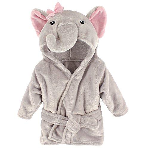 Hudson Baby Unisex Baby Plush Animal Face Robe, Pretty Elephant, One Size
