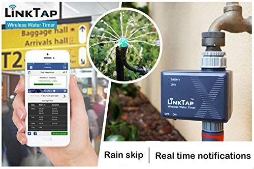 LinkTap Wireless Water Timer & Gateway, Cloud Controlled Smart Hose Faucet Timer, Greater Wireless Coverage Than Wi-Fi, 2 Yrs Battery Life, Quick 2 Mins Installation, Rain Skip, Improved Flow Rate