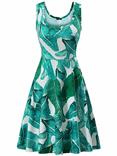 FENSACE Women's Tank Top Midi Green Floral Sun Dresses,18034-4,Large