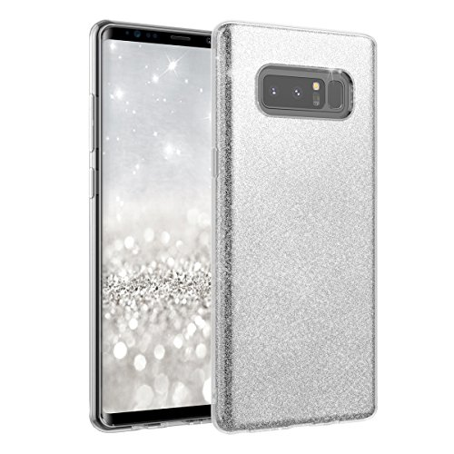 Price comparison product image Note 8 Case, Moonmini Samsung Galaxy Note 8 ( 2017) Sparkling Bling Glitter Ultra Slim Soft TPU 3 in 1 Dual Layer Hybrid Full Protection Backcover Protective Shell (Silver)