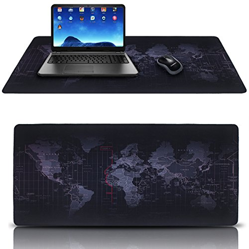 Extended Gaming Mouse Mat Pad,XXL Large,Portable Large Desk Pad World Map Mousepad,Stitched Edges,Non-Slip Rubber Base,35.4