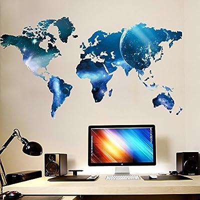 "Ryuan Blue Planet World Map Wall Art Sticker Home Decor for Living Room,Bedroom Decorative Mural(38.9""*21.6"")"