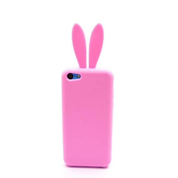 low priced 05181 b6622 xhorizon TM Baby Pink Skin Cute Bunny Ears Rabbit Rubber Soft Case Cover  for Apple iPhone 5C