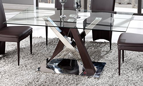 Global Furniture Dining Table, (Glass Upholstered Dining Table Set)