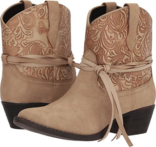 Dingo Women's Floral Tooled Knotted Strap Booties Medium Toe Tan 9 M