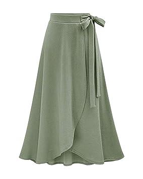 ac5b56c6ab JINSH Falda Larga asimétrica Larga Acampanada Larga de la Cintura Alta del  Arco de Las Mujeres (Color   Green