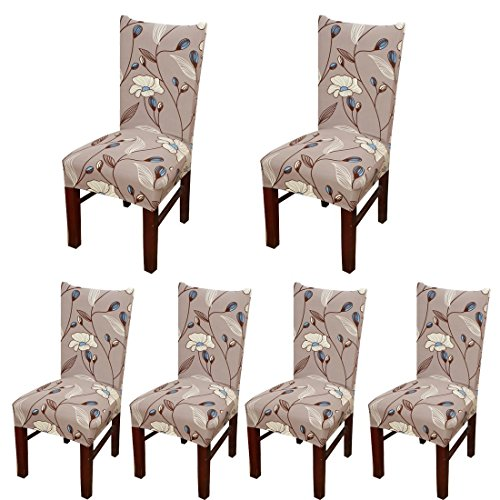 SoulFeel 6 x Soft Stretchable Dining Chair Covers with Printed Floral Patterns, Spandex Banquet Chair Seat Protector Slipcovers for Holiday Home Party, Hotel, Wedding Ceremony (Style 33, - Chair Slipcover Casual Dining