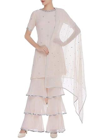 ETHNIC EMPORIUM Listo para Usar Vestido Off White Marino ...