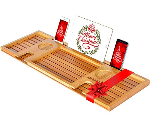 ROYAL CRAFT WOOD Natural Bamboo Bathtub Caddy/Bath Serving Tray for 2: Him and Her - Luxury Bathtub Accessories Set - Perfect Gift (Dream Coffee Gift Basket)
