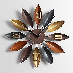 BJXM Retro Wrought Iron 3D Wall Clock Creative Home Large DIY Wall Clock Wall Decoration Clock