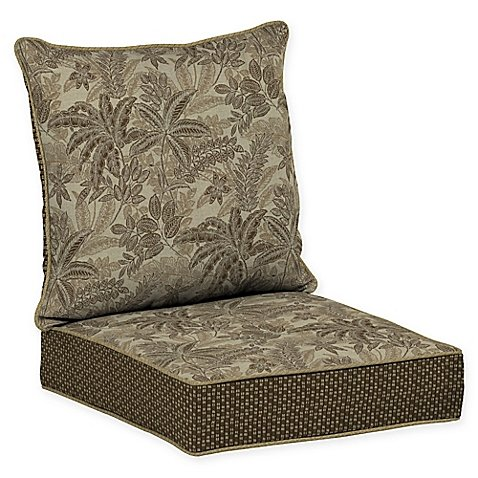 Bombay Outdoors Palmetto Snap Dry, Deep Seat Chair Cushion in Mocha Brown, Sophisticated Tropical Patterned Jacquard, Basket-Weave and Solid Woven Fabric, Durable, Fade Resistant, 46.5