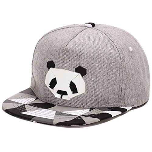 King Star Men Solid Flat Bill Hip Hop Snapback Baseball Cap Panda-Gray