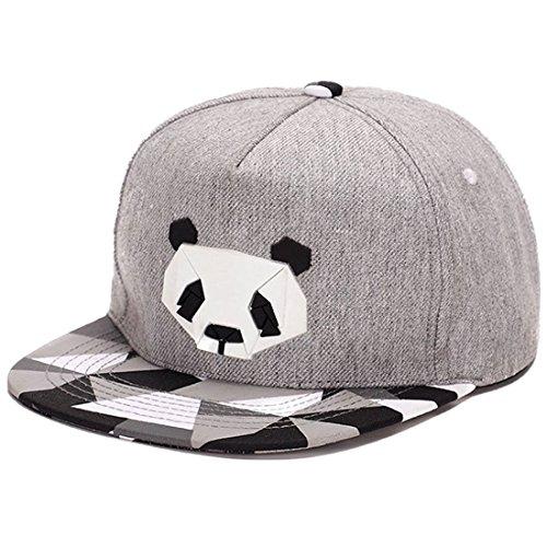 King Star Men Solid Flat Bill Hip Hop Snapback Baseball Cap Panda Gray
