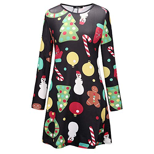 Christmas Mommy & Me Women Long Sleeves Cartoon Print Dress Family Clothes