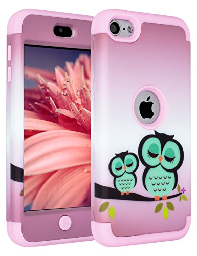 iPod Touch 6th Generation Case,iPod Touch 5th Generation Case,SLMY(TM) [Cute Owls Series] Hybrid Impact Shockproof Defender Case for Apple iPod Touch 5/6 Purple