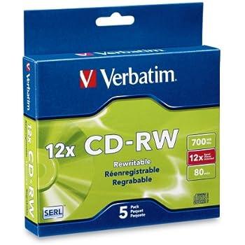 Verbatim 700MB 4x-12x 80 Minute Silver Rewritable Disc CD-RW, 5-Disc Slim Case 95157