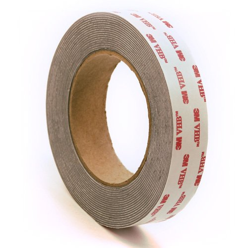 3M 4941 Very High Bond Conformable Acrylic Foam Tape, Double-Sided VHB Acrylic Adhesive, Liner, 45 mil Thick, Dark Grey, 1 Width, 5 Yard Roll
