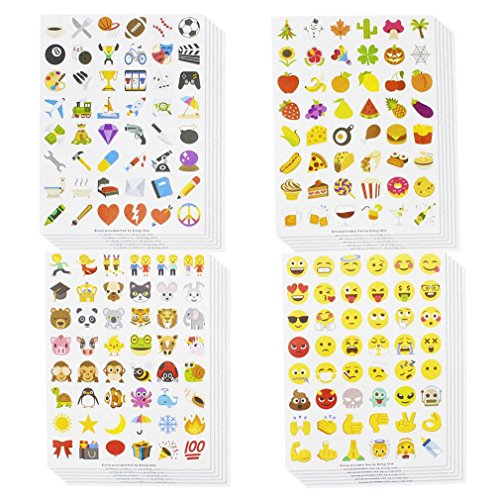Juvale Emoji Stickers/Sticker Pack - 1152 Assorted Stickers, 24 Sheets - Party Favor Stickers for Kids - Featuring Smiley Faces, Poop Swirl, Text Emojis, Other Cute Designs