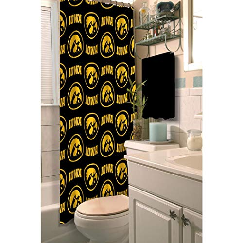 D&H 1 Piece Black Yellow Iowa Hawkeyes Football Sports Themed Shower Curtain, Polyester Detailed Sports Pattern, Modern Elegant Design, Official Colorful Team Logo Printed, Rich Texture, True Color -