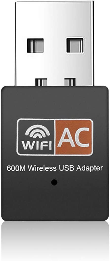 USB WiFi Adapter - Dual Band 2.4G/5G Mini Wi-fi ac Wireless Network Card Dongle with High Gain Antenna for Desktop Laptop PC Support Windows XP Vista/7/8/8.1/10 (USB WiFi 600Mbps) (Black)