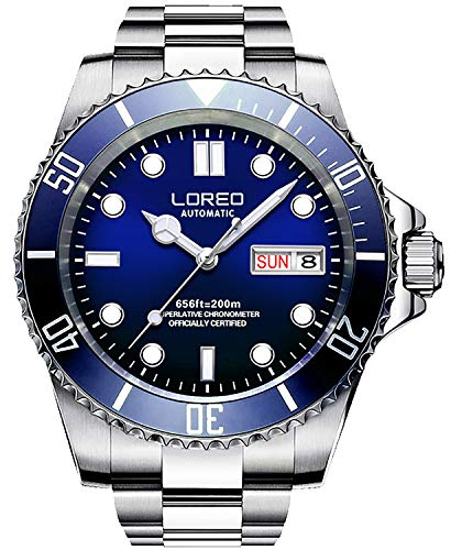 LOREO Mens Silver Stainless Steel Sapphire Glass Blue Rotating Bezel Men's Automatic Date Week Watch