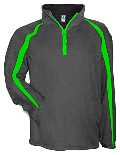 Badger - Fusion Colorblock Poly Fleece 1/4-Zip Pullover - 1481 - M - Carbon/Lime