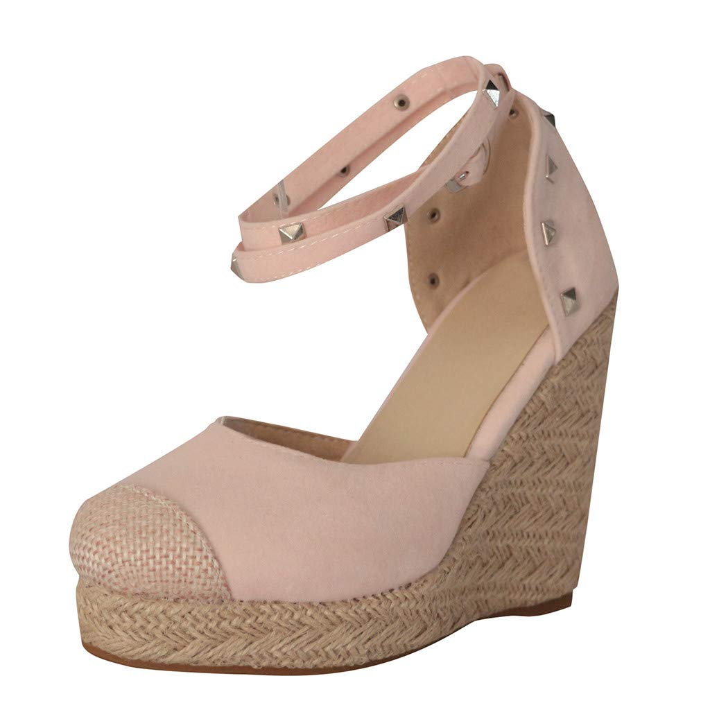 LUCAMORE Womens Wedge Sandals Ankle Strap Cap Toe Espadrille Wedge Sandal