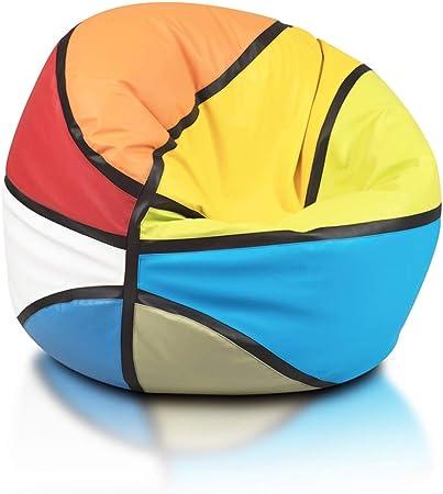 Pouf Poltrona Sacco Pallone Palla da Pallacanestro Mix Puff Basket in Ecopelle Dim Ecopuf Basketball 55 X 100 Doppie Cuciture Rinforzate PUF Imbottito con Perle di POLISTIROLO