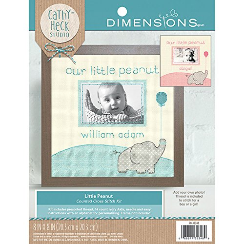 (Dimensions 70-35348 Little Peanut Counted Cross Stitch Kit Baby Photo Frame,  8