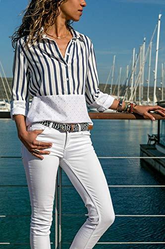 Chemise Long Chic BOLAWOO Blanc Manches Manche Blouse Printemps Haut Elgante Shirt Branch Large Longue Loisir Confortable Mode Dame Revers Femme Automne rzqTr7