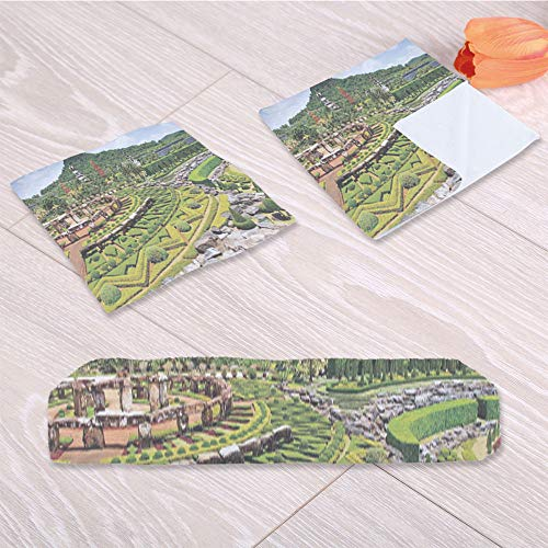 C COABALLA Country Home Decor Custom Towel,Landscaping in The Garden Forest for Swimming Pool Bathing,One Sided Printing:3 Piece Towel Set