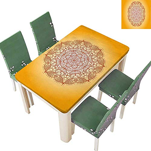 Printed Fabric Tablecloth Oriental Embellished Circular Mehndi Arab que Kirsch Image Red Washable Polyester 54 x 102 Inch (Elastic Edge)